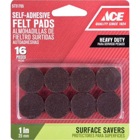 Ace Felt Round Self Adhesive Pad Brown 1 in. W 16 pk