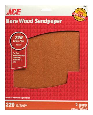 Ace Garnet Sandpaper 11 in. L 220 Grit Extra Fine 5 pk