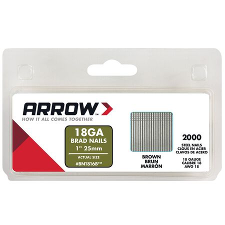 Arrow BN18 18 Ga. x 1 in. L Galvanized Finish Brad Nails Steel 2000 pk