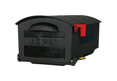 Solar Group Gibraltar Roughneck Polymer Post Mounted Mailbox Black 9-1/2 in. H x 21 in. L