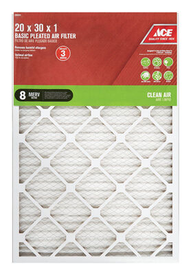 Ace 30 in. L x 20 in. W x 1 in. D Pleated Air Filter 8 MERV