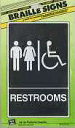 Hy-Ko English 9 in. H x 6 in. W Plastic Sign Restrooms (Handicap Braille)