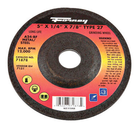 Forney 5 in. Dia. x 1/4 in. thick x 7/8 in. Metal Grinding Wheel