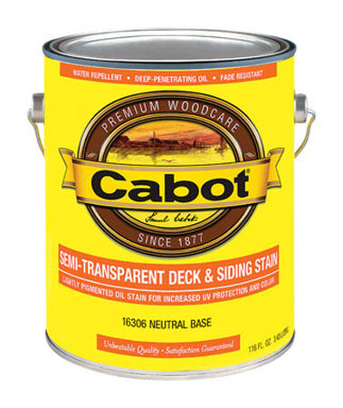 Cabot Semi-Transparent Oil-Based Deck and Siding Stain Neutral Base Tintable 1 gal.