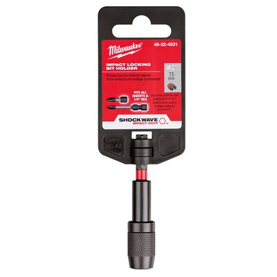 Milwaukee SHOCKWAVE 2.88 in. Alloy Steel Impact Magnetic Locking Bit Holder 1/4 in. Hex Shank 1