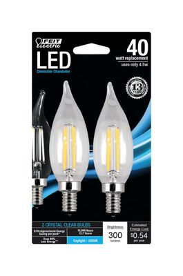 FEIT Electric LED Bulb 4.5 watts 300 lumens 5000 K Chandelier Flame Tip Daylight 40 watts equiv