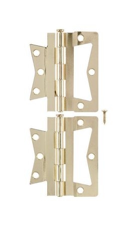 Ace 4 in. L Non-Mortise Hinge Bright Brass