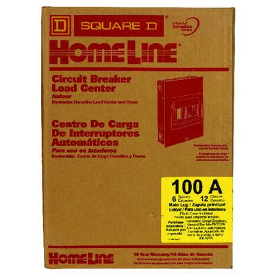 Square D Homeline 100 amps 6 space 12 circuits 120/240 volts Flush Main Lug Main Lug Load Center