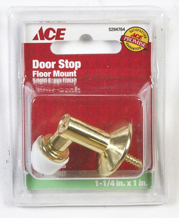 Ace Metal Floor Mount Door Stop 1-1/4 in. L Bright Brass