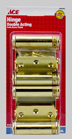 Ace Brass Self Closing Hinge 3 in. Dia. x 3 in. L x 3 in. L Bright Brass 2 pk