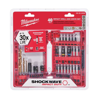 Milwaukee Shockwave Multi Size Impact Driver Screwdriver Bit 1/4 in. Dia. 40 pc.