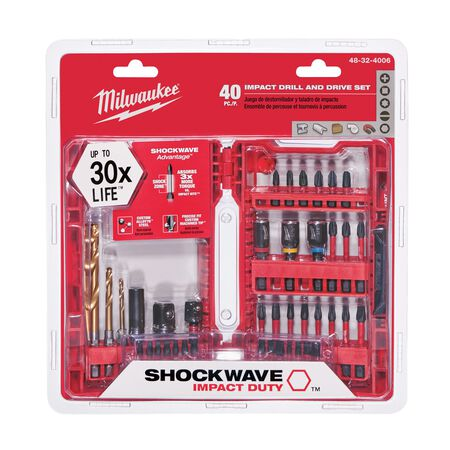 Milwaukee Shockwave Multi Size Impact Driver Screwdriver Bit 1/4 in. Dia. 40 pc.