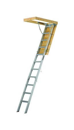 "7 ft. 8 in. - 10 ft. 3 in., 22.5"" x 54"" Louisville FTAA2210 Aluminum Fire-treated Attic Ladder, Type IAA, 375 lb Load Capacity"