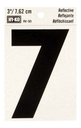 Hy-Ko Self-Adhesive Black Reflective Vinyl Number 7 3 in.