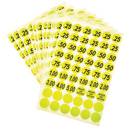 Hy-Ko English Yellow Price Labels Price .25 .50 .75 1.00 2.00 3.00 4.00 5.00