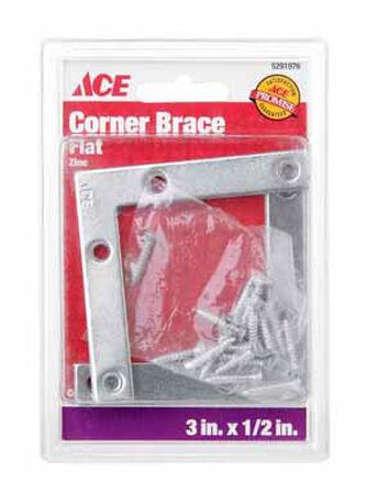Ace Flat Corner Brace 3 in. x 1/2 in. Zinc