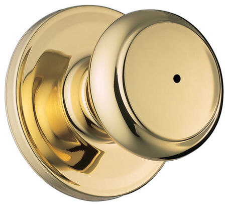 Weiser Troy Privacy Lockset Polished Brass Steel 2 Grade Left Handed Right Handed