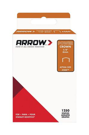 Arrow Fastener #584 PowerCrown Galvanized Steel 1/4 in. L Standard Staples 1250 pk