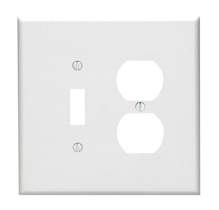 Leviton 2 gang White Thermoset Plastic Toggle/Duplex Wall Plate 1 pk