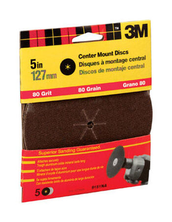 3M 5 in. Dia. Sanding Disc 80 Grit Medium Center Mount 5 pk