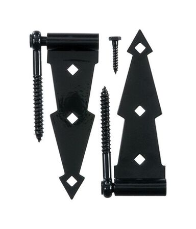 Ace 7 in. H Ornamental Screw Hook Strap Hinge Steel Black 7 in.