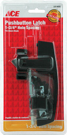 Ace Interior/Exterior Steel Black Push Button Latch
