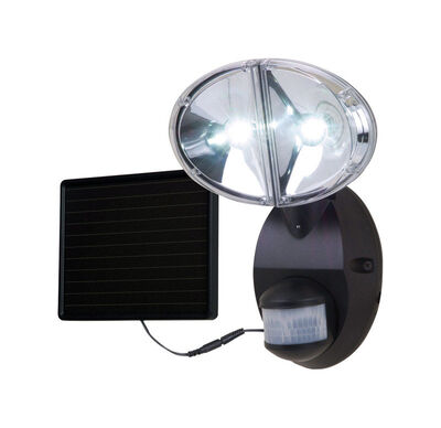 All-Pro 100 deg. Motion-Sensing LED Black Solar Flood Light 1 pk