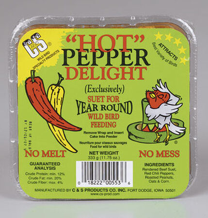 C&S Products Hot Pepper Delight Assorted Species Suet Beef Suet 11.75 oz.