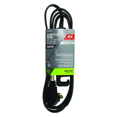 Ace Indoor Extension Cord 16/3 STP-3 6 ft. L Black