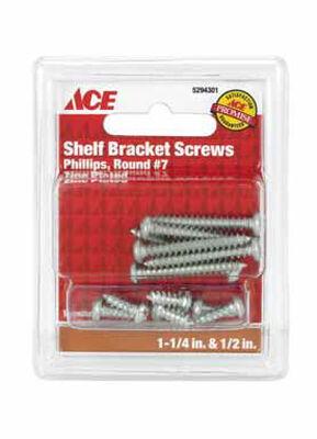 Ace Steel Zinc Shelf Bracket Ornamental Shelf Bracket Screws Assorted in. L