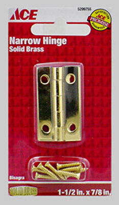 Ace 1-1/2 in. L Narrow Hinge Polished Brass