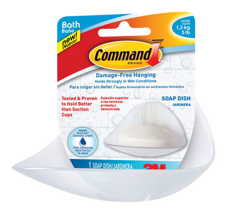 Command Damage-Free Hanging Soap Dish Clear Plastic