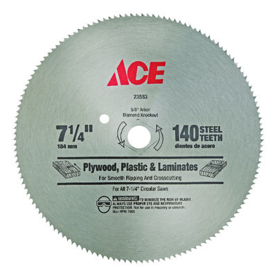 Ace 7-1/4 in. Dia. 140 teeth Steel Circular Saw Blade For Fine Tooth Finish
