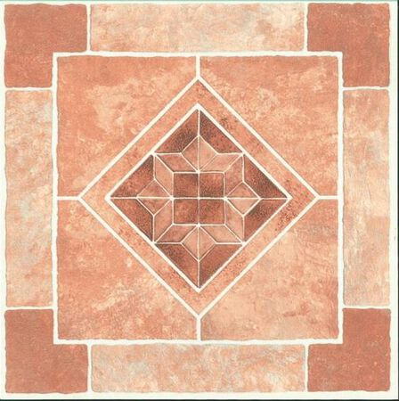 Self-Adhesive Floor Tile, 12 in L Tile, 12 in W Tile, 1.22 mm Thick Total, Brown Diamond