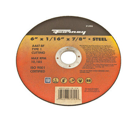 Forney 6 in. Dia. x 1/16 in. thick x 7/8 in. Metal Cut-Off Wheel