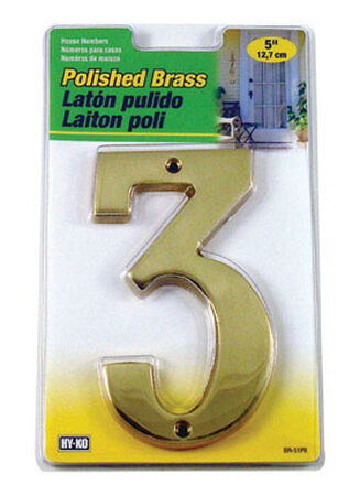 Hy-Ko Nail On Polished Brass Number 3 5 in.