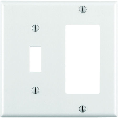 Leviton 2 gang White Thermoset Plastic Toggle and Rocker/GFCI Wall Plate 1 pk