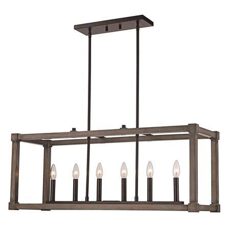 Trans GLobe Lighting Pendant Wood Square 6 Light