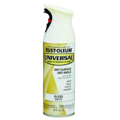 Rust-Oleum Universal Paint & Primer in One White Gloss Enamel Spray 12 oz.