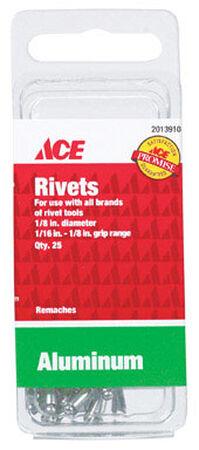 Ace 1/8 in. Dia. x 1/8 in. Aluminium Rivets 25 pk