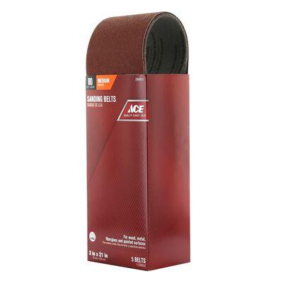 Ace Sanding Belt 3 in. W x 21 in. L 80 Grit Medium 5 pk