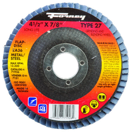 Forney 4-1/2 in. Dia. x 7/8 in. Blue Zirconia Flap Disc 36 Grit