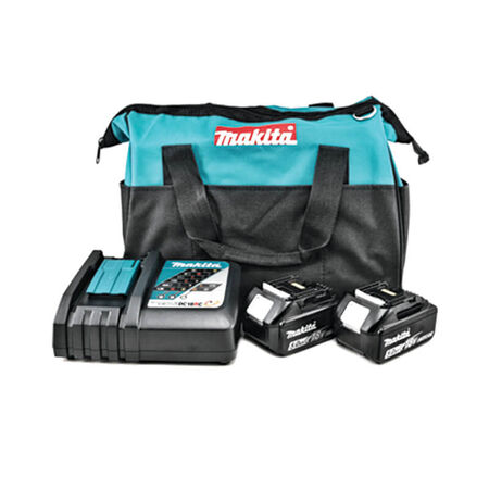 Makita 18V LXT® Lithium?Ion Starter Kit with 2X 5.0 AH Batteries. Rapid Optimum Charger, and Bag