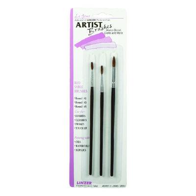 Linzer No. 1 3 5 W Round Red Sable Artist Paint Brush Set