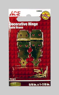 Ace 5/8 in. L Decorative Hinge Solid Brass 2 pk