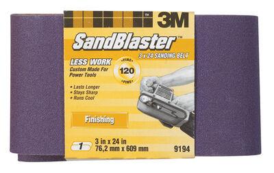 3M SandBlaster Sanding Belt 3 in. W x 24 in. L 120 Grit Fine 1 pk