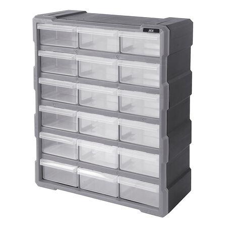 Ace 6-1/4 in. L x 15 in. W x 19 in. H Storage Organizer Plastic 18 compartments Gray