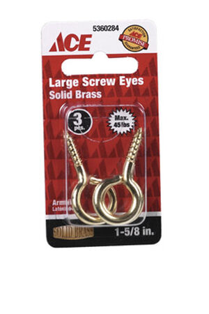 Ace 3/16 1-5/8 in. L Polished Brass Screw Eye 3 pk
