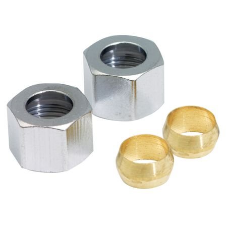 Ace 3/8 in. Dia. Polished Chrome Compression Nut With Rings 2 pk
