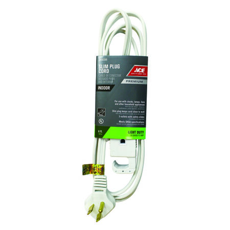 Ace Indoor Extension Cord 16/3 SPT-3 6 ft. L White